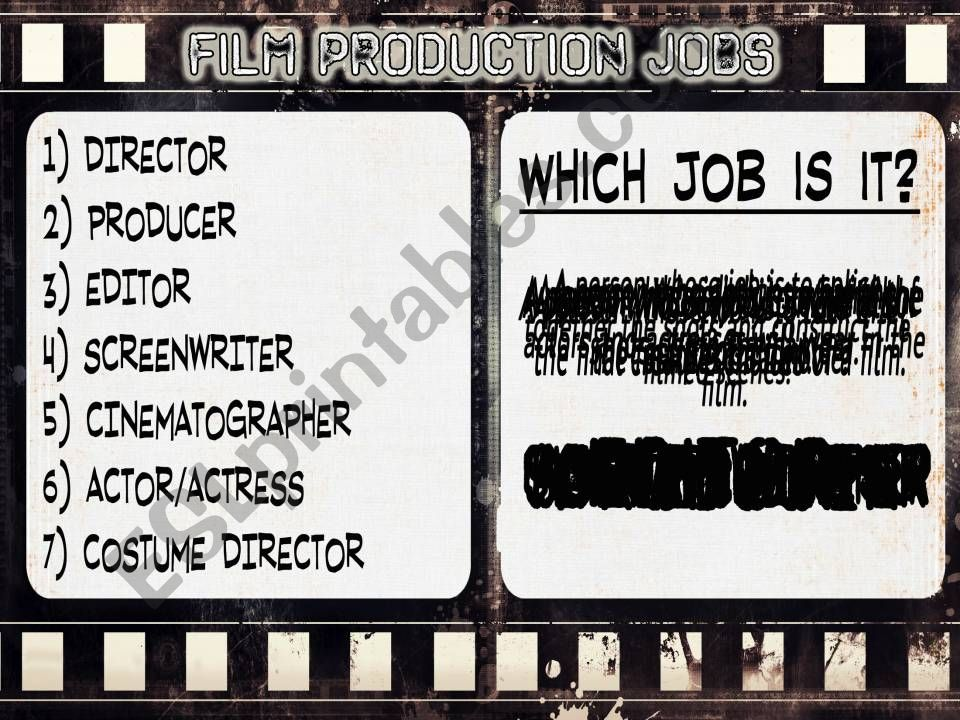 FILM PRODUCTION JOBS powerpoint