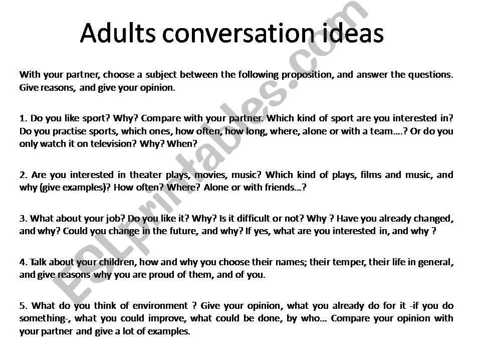 ESL - English PowerPoints: Adults conversation ideas