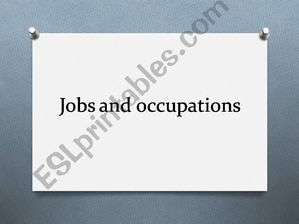 Jobs and occupations  powerpoint