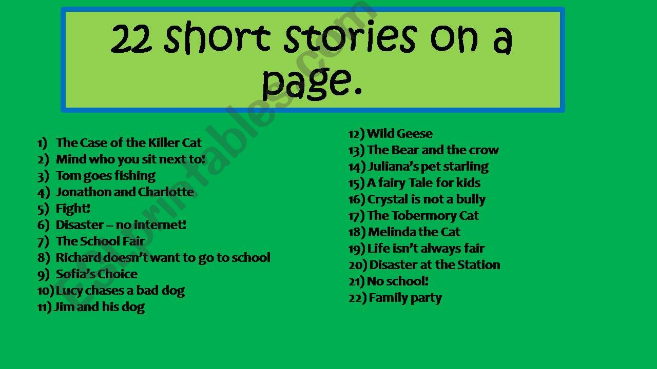 22 short stories on a page powerpoint