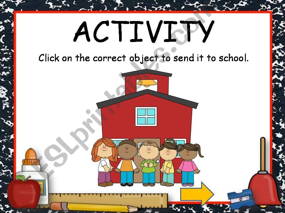 SCHOOL OBJECTS GAME with sound