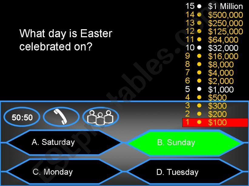 Who wants to be a millionaire? - Easter Quiz