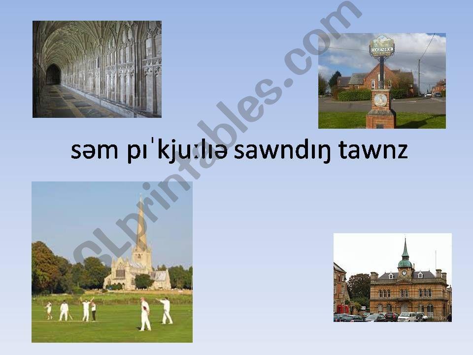 British Town Names. Pronunciation Activity