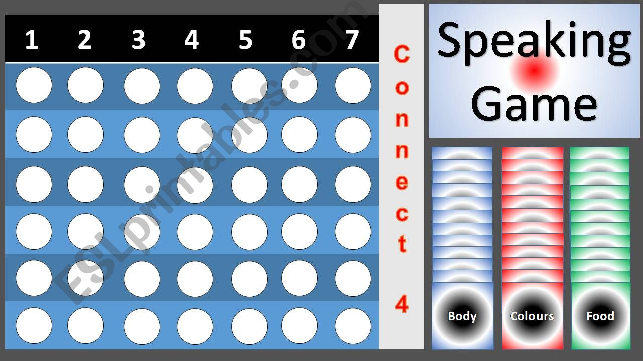 Speaking game Connect4 _Food_Colours_Body
