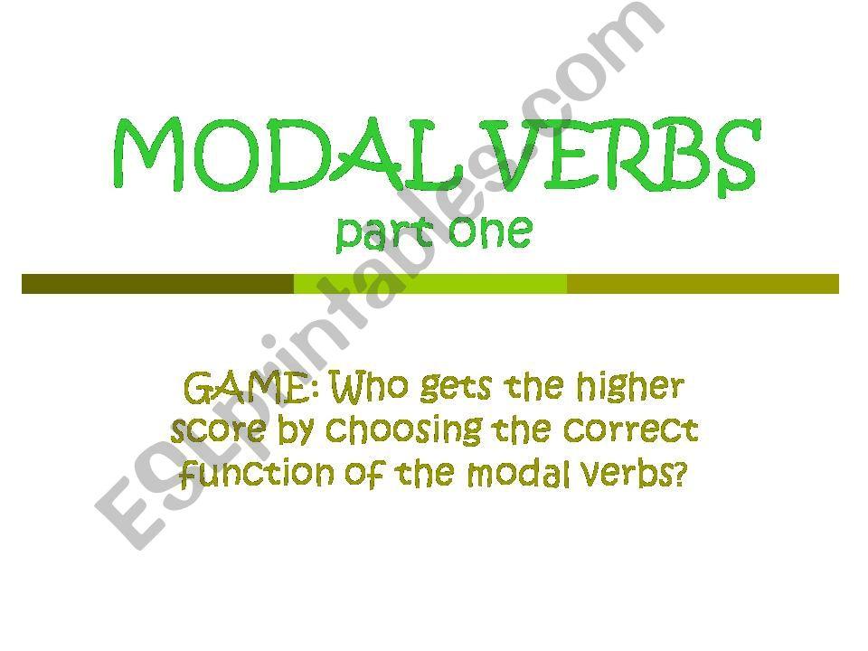 Modal Verbs powerpoint