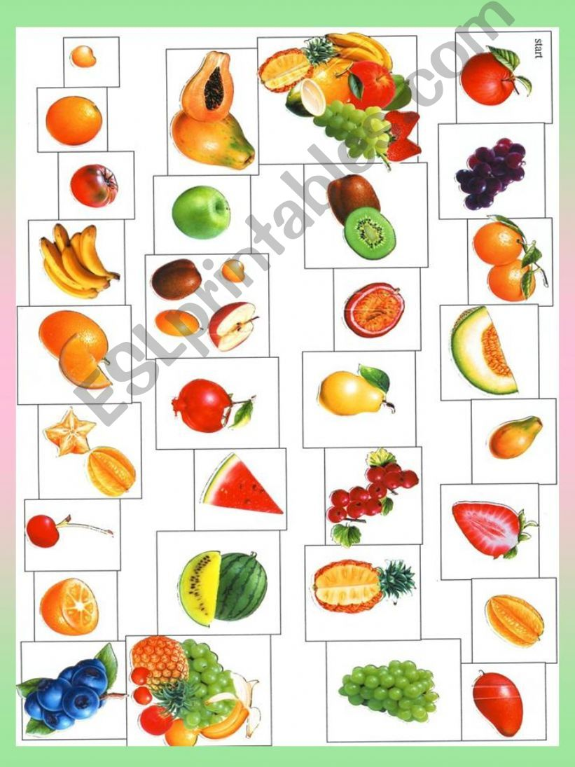 Fruit BOARDGAME + 10 game ideas  (I would like... It is bigger than... It looks like... It´s sour /sweet ... two-word expressions - strawberry cream..., It is from...)