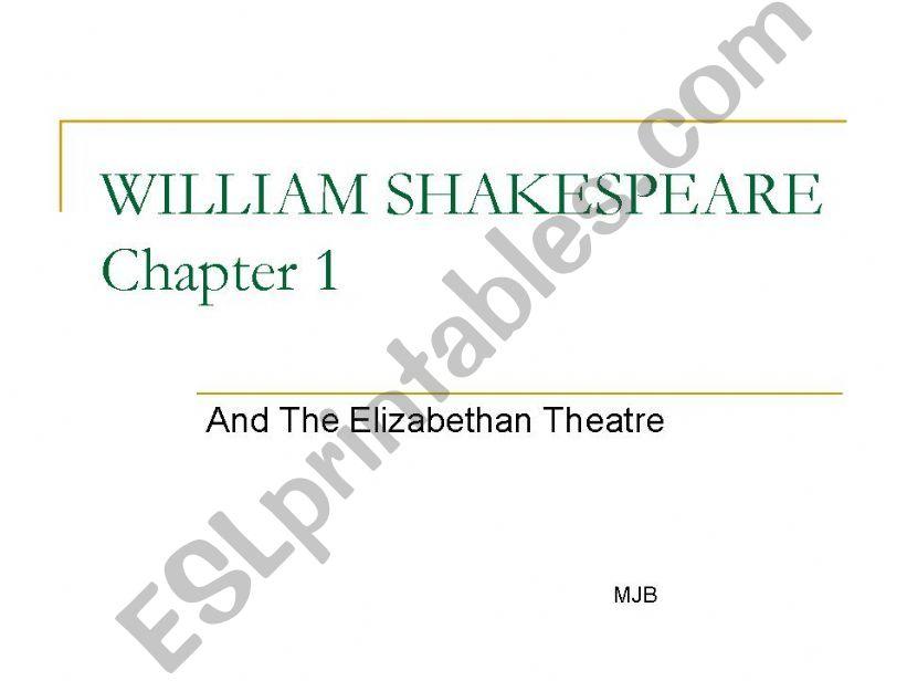 William Shakespeare Chapter 1 powerpoint