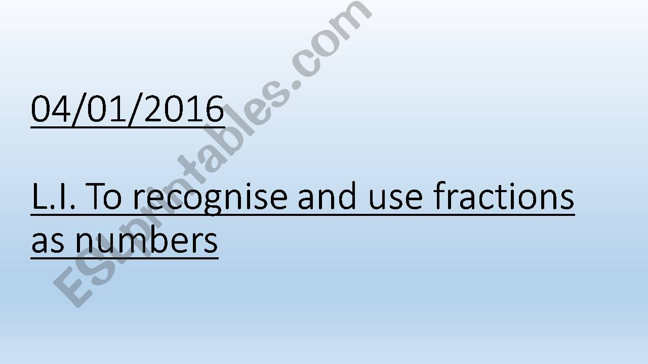 Fractions as numbers powerpoint