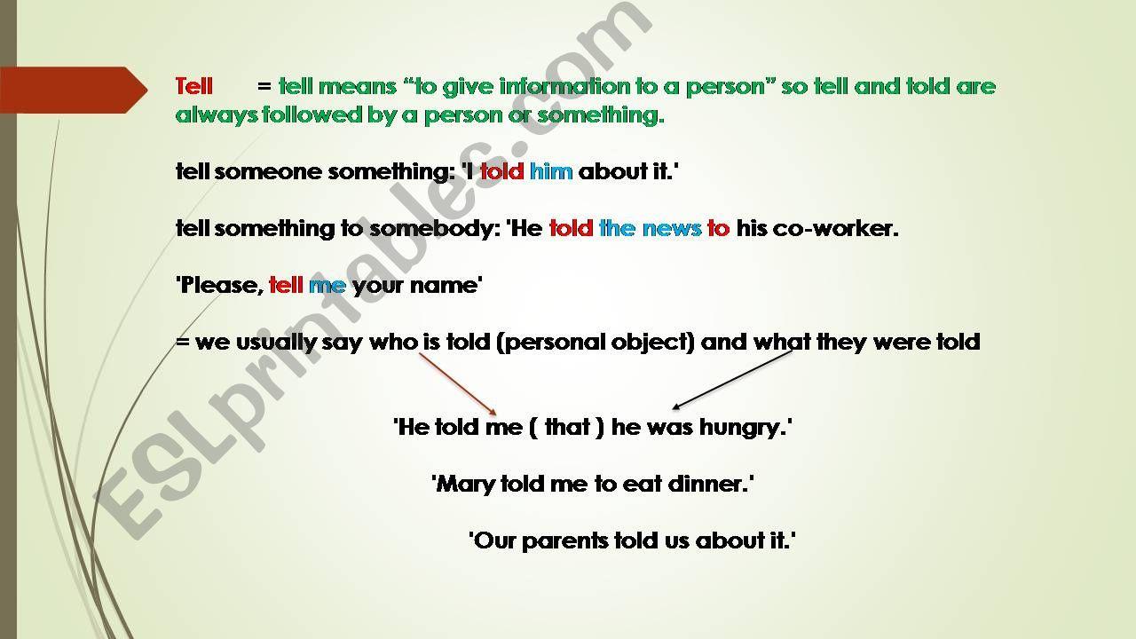 SPEAK, SAY, TELL powerpoint