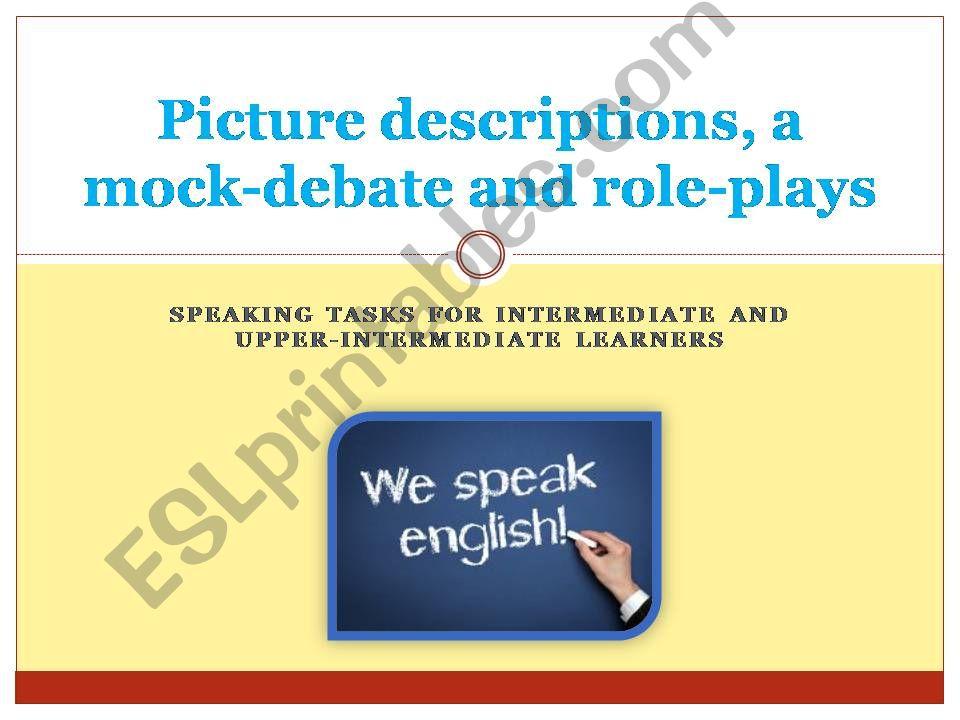 Speaking tasks for intermediate or upper learners