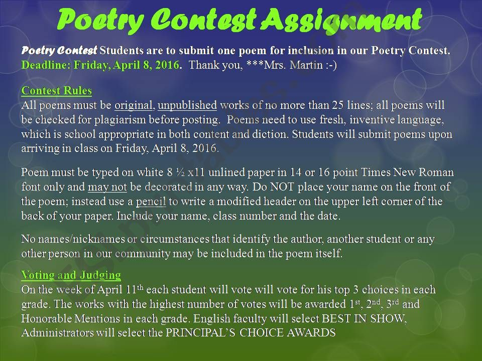 ESL - English PowerPoints: Types of Poems