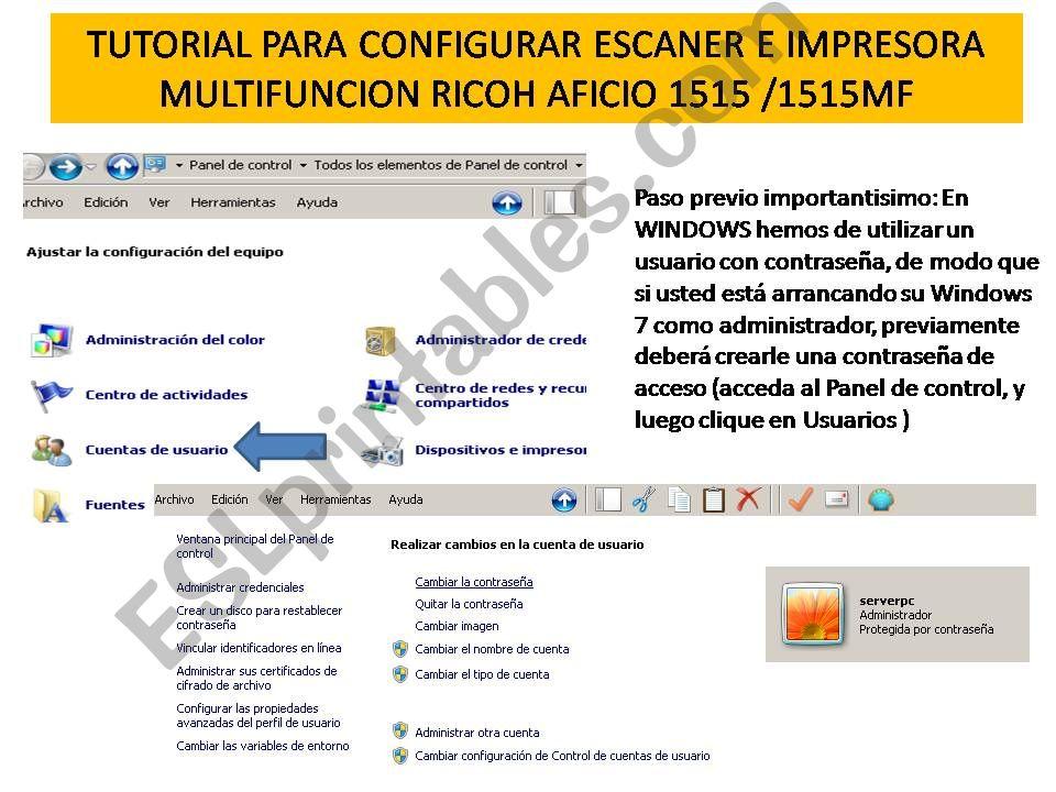 TUTORIAL CONFIGURACION AFICIO ESCANER AFICIO 1515