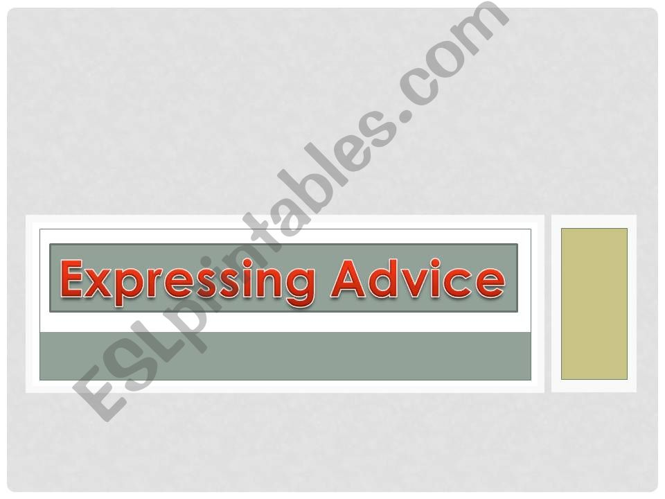 ASKING FOR And GIVING ADVICE powerpoint