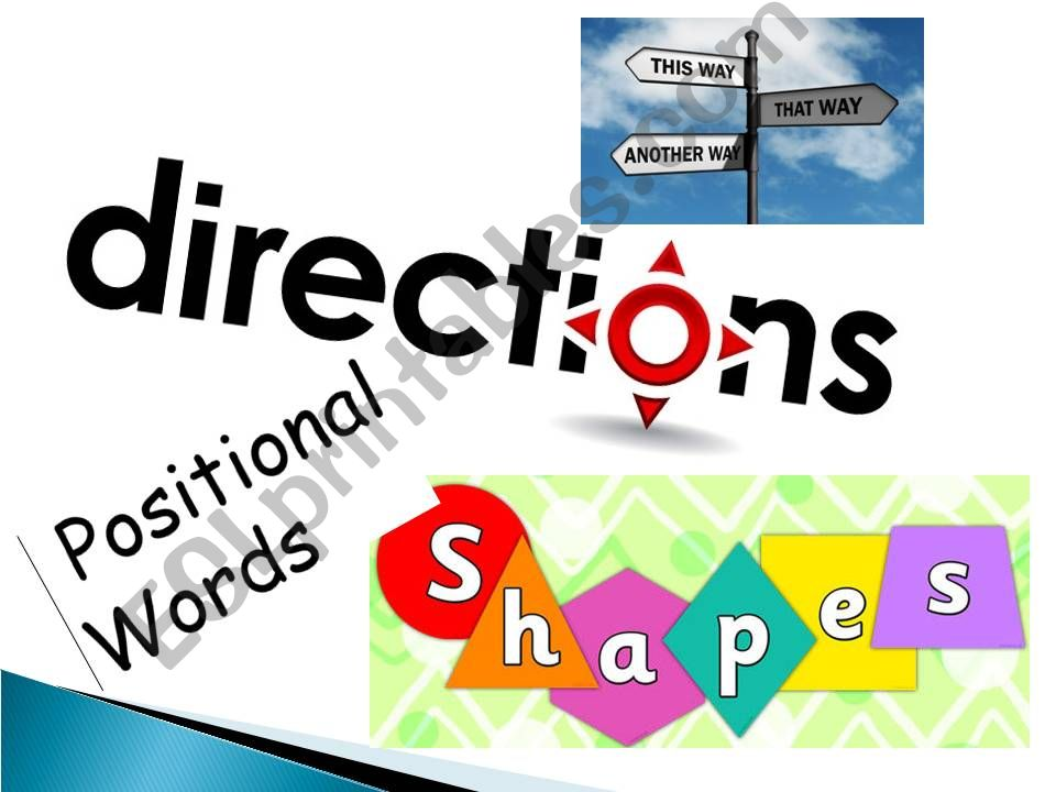 DIRECTIONS, PREPOSITIONS OF PLACE, SHAPES, SPATIAL RELATIONSHIPS - LESSON, REVIEW & EXERCISES