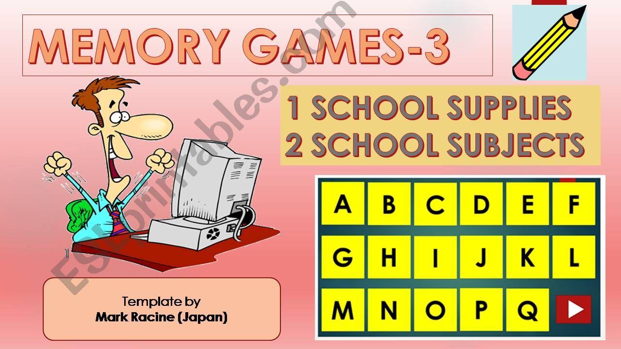 Memory(Matching) games SET3 - SCHOOL SUPPLIES, SCHOOL SUBJECTS