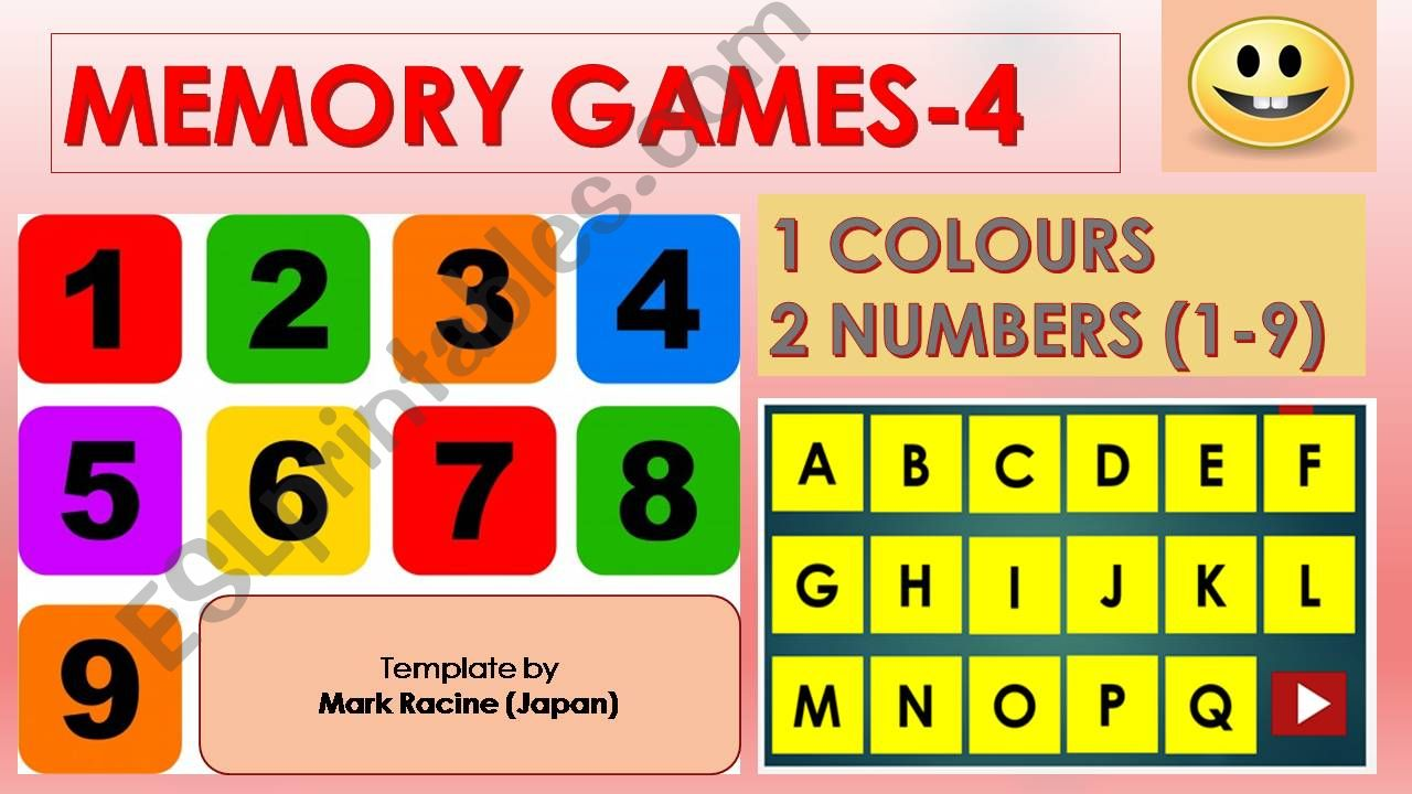 Memory(Matching) games SET4 - COLOURS, NUMBERS