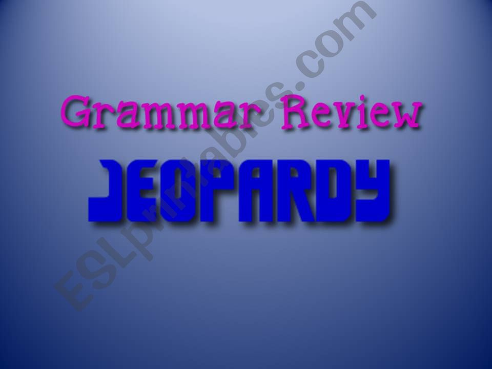 Grammar Review Jeopardy Game powerpoint