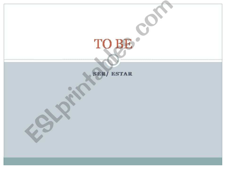 To be - Simple Present / Simple Past