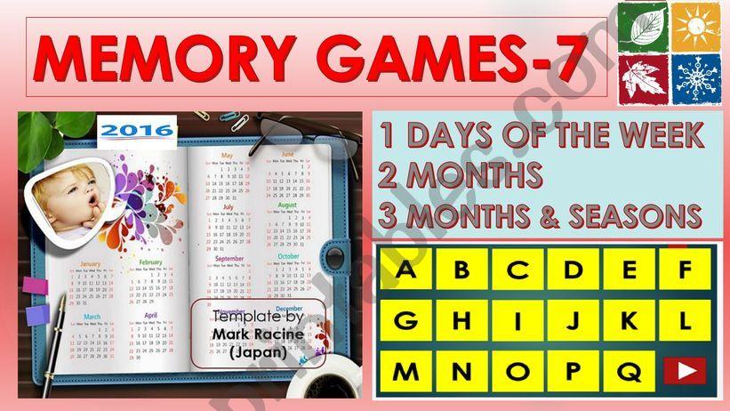 Memory (Matching) games SET 7 - DAYS, MONTHS, SEASONS