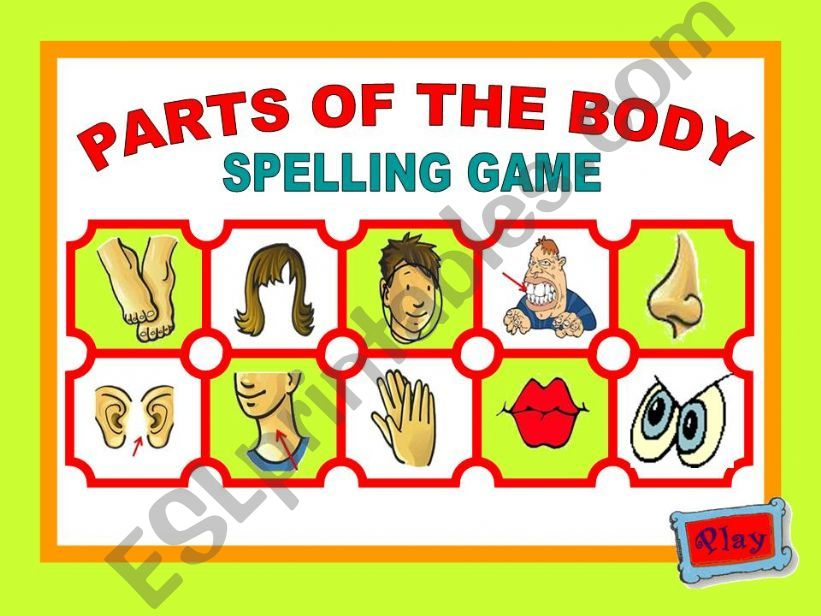 PARTS OF THE BODY - SPELLING GAME