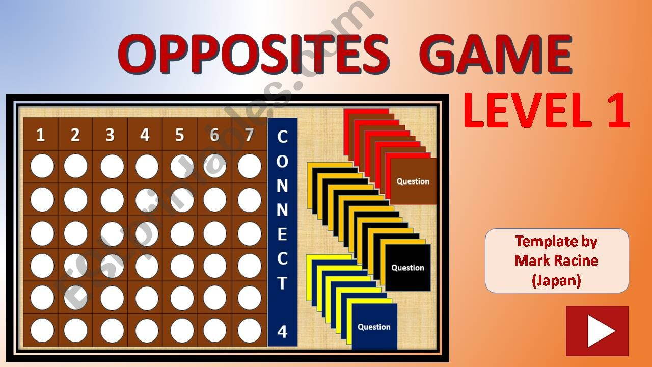 Connect 4 OPPOSITES GAME Level 1 (out of 3)