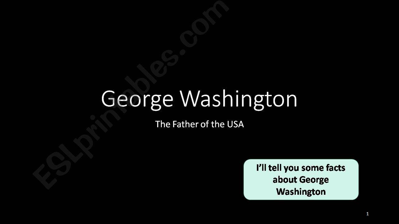 President´s Day: George Washington Oral Activity