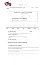 English Worksheet: The adjectives (comparative degree)