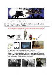 English Worksheet: The Legend of Sleepy Hollow