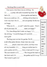 English Worksheets: The King Who Loved Gold