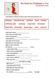 English Worksheet: All I Want for Christmas Is You by Mariah Carey