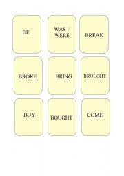 English Worksheet: Memory game: irregular verbs