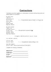 English Worksheet: contractions work sheet