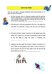 English Worksheet: sports and games