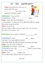 English Worksheet: ROLE PLAY ORDERING FOOD