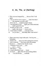 A An The Worksheets - Worksheets
