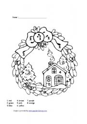 English Worksheet: Christmas colour by number