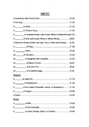 English worksheet: Restaurant Menu - Great Dialogue Starter!
