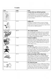 English Worksheet: TV Guide