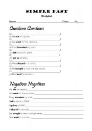 Simple Past - Questions and Negatives - ESL worksheet by lila