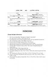 English Worksheet: A few few - a little / little