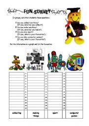 English Worksheets: fun survey