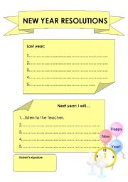English teaching worksheets: New year resolutions
