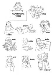 English Worksheet: classroom actions