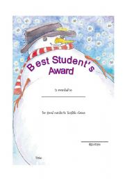 English Worksheet: Best Student Award