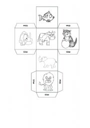 English Worksheet: Animal dice