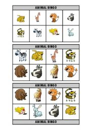 English Worksheet: Animal bingo
