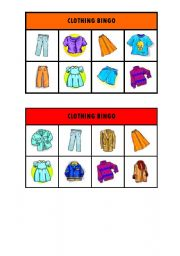 English Worksheets: Clothing bingo