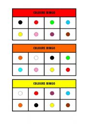 English Worksheet: Colours Bingo