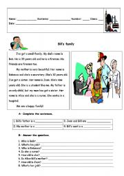 English Worksheet: Family and jobs