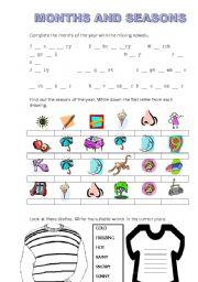 English Worksheet: Months and seasons